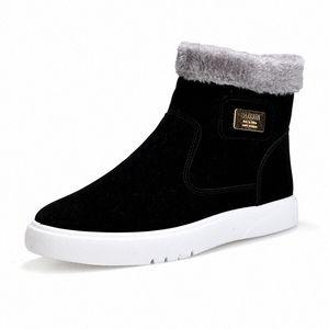 2019 Nouveau plat talon Hommes Bottes chaud Chaussures Homme à tête ronde solide Mode Hommes Couleur hiver Chaussures Casual Taille 39 44 Over The Cuissardes Co FiHh #