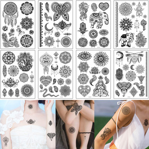 Henna Tattoo Sticker Fake Black Sexy Flower Lace Dreamcatcher Elephant Bracelet Feather Design for Woman Temporary Waterproof Body Tattoo 3D