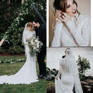 Высокая шеи Русалка Свадебные платья Country Garden с длинными рукавами полный шнурок мусульманская Свадебные платья Платье-де-Novia