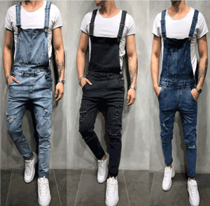 Mens Hot Sell Overalls Hole Jeans Skinny Button Fly Sling Pants Male Vintage Solid Seasons Male Clothing