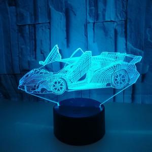 Kreative 3D kleine Tischlampe Werbung kreative Geschenk-3D Visuelle LED-Leuchten Sports Car Bunte Noten-Schalter Desktop-Nachtlicht