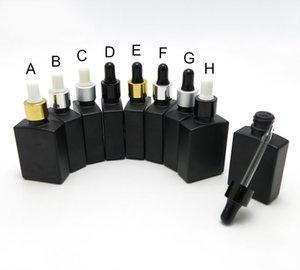 10PCS / LOT 30ML noir mat carrés Huile Essentielle bouteilles en aluminium Dropper Dropper Cap