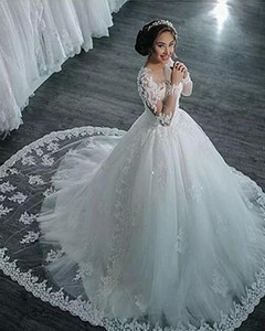 A-Line Wedding Dresses High Neck Court Train Lace Long Sleeve Country Glamorous Backless Illusion Sleeve with 2020   Bishop Sleeve