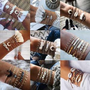 KISSWIFE 2020 Boho Bangle Shell Lune Tassel Bracelet Femmes Rétro géométrique Déclaration de charme Parti Accessoires de bijoux de mariage