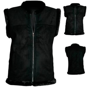 Zipper Skateboard Solid Warm Vest Homme Slim Fit Clothes Mens Autumn Crew Neck Vest Black