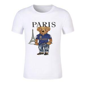New style bear t-shirt short-sleeved high-quality Paris city poloshirt pattern 100% cotton and American bear print the same size t-shirt