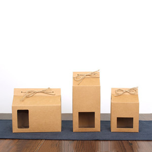 Tea packaging cardboard kraft paper bag,Clear Window box For Cake Cookie Food Storage Standing Up Paper Packing Bag