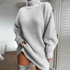 Forefair Turtleneck manga comprida camisola vestido de mulher Outono Inverno solto Túnica feita malha Casual rosa roupa cinzenta Dresses Sólidos