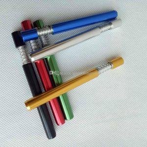Snorter Hitter Tips Pipe Snuff Styles Metal Aluminium Smoking Spring Sniffer Tube Bats Dispenser 82mm 70mm Straw One 3 Filter Length bbyvv