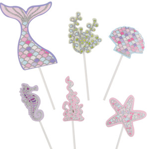 6Pcs Pack Mermaid Tail Starfish Cupcake Topper Birthday Party Decorations Wedding Cake Decoration Kids Baby Shower Party Supplie