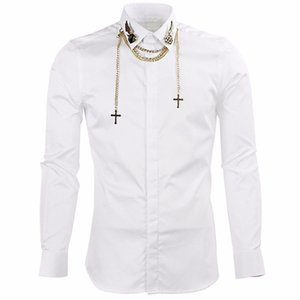 Men's shirts Long Sleeve Shirts Men with Chain leisure Top Slim Fit Tops Shirts Casual Chemise Homme Camisas Hombre M42601