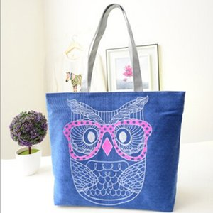 New Casual Cartoon Owl Printed Canvas Shoulder Bags Tote Large Capacity Beach Bags Women Shopping Bag Handbags 4 Choices