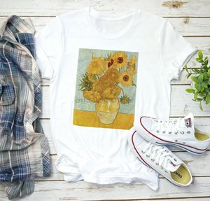 فان جوخ T قميص عباد الشمس الجمالية الانطباعية الفن 90S الجرونج إمرأة رجل (1)