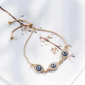 Livraison gratuite turc chanceux de luxe Blue Crystal Evil Eye Bracelets Chaînes main bijoux en or chanceux cadeaux appropriés Famille