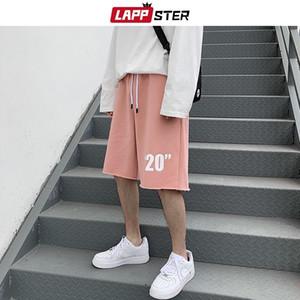 LAPPSTER Summer Men Korean Cotton Shorts 2020 Hawaii Beach Streetwear Hip Hop Basketball Shorts Male Casual Black Sweatshorts MX200815