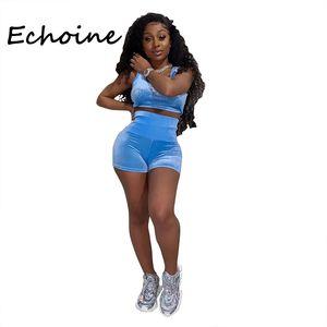 Echoine 2 Piece Set Women Tracksuit Diamond Decor Sportwear Crop Top + Short Pants O-neck Bodycon Summer Clothes For Women 200919