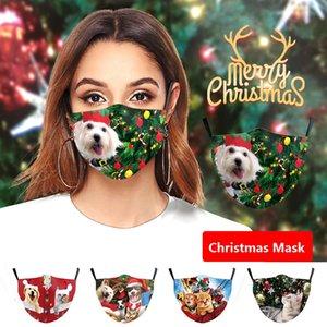 새로운 도착 성격 동물 고양이 개 패턴 크리스마스 인쇄 남성 여성 방진 안티 스모그면 천 성인이 주식을 마스크 마스크