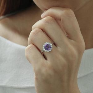MH takı Doğal kız bayan Romantik hediye, kutu için Gemstone ayarlanabilir Yüzük Gerçek 925 Gümüş Güzel Takı amethyst