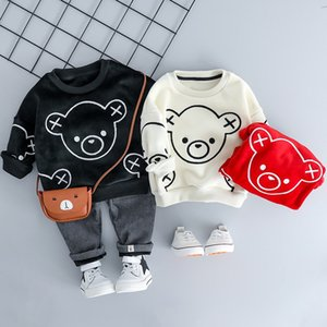 INS Fashions Kids Baby Girl Boy Clothing Sets Autumn Winter Plush Infant Clothes Suits Cartoon Children Kids Casual Coatume