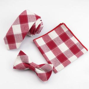 % 100 pamuk beyaz ızgara Kravat Seti Erkek Ekose Kravatlar Papyon Cep Kare Mendil Set For Men Düğün Aksesuarları kırmızı