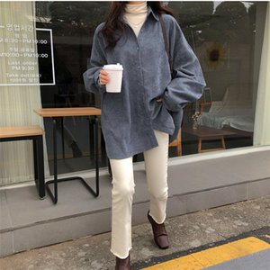 2020 New Women's Corduroy Shirt BF Style Texture Chic Retro Soft Vintage Solid Women Blouse Oversize Tops Loose All-Match Shirts