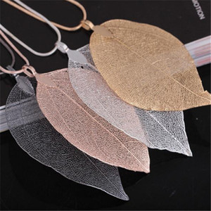 Gold Chain Necklace Fashion Women Men Jewelry Maxi Necklace Rose Gold Color Chain Real Charm Pendant Necklaces & Pendants Leaf Necklace v124