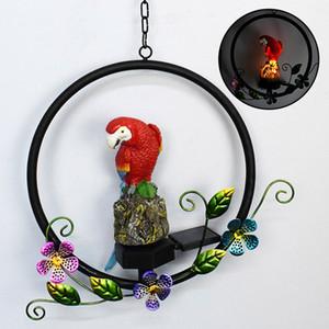 Solar-powered parrot pendant LED lamp resin craft garden ornament