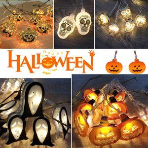1.5m 10Led Pumpkin Halloween String Lights Halloween Skull Lights Ghost Skeletons Led Lamp Hanging Halloween Decorations Party Supplies