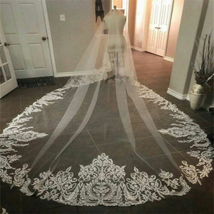 Real Image Wedding Veils Newest Three Meters Long Veils Lace Applique Crystals One Layers Cathedral Length Cheap Bridal Veil
