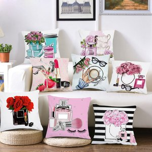 Plush Hand painted flowers and perfume bottles cushion cover Sofa Pillow Case Home Decor Throw Couch Pillowcase decorations