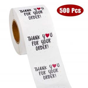 500 unids Ronda Gracias por su pedido Pegatina Heart Gracias por comprar Pequeña Tienda Pegatinas Blancas Locales Calcomanías Kraft Etiquetas