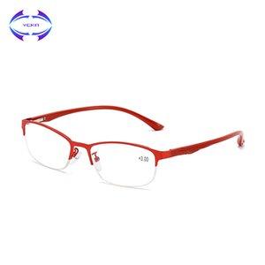 Klare TR90 VCKA Halbfrauen Lesebrillen Brillen Brillen Presbyopic Anti-Müdigkeit Retro-Rahmen Eyewear + 1.0 Hyperopia-Objektiv bis +4.0 SXSRR