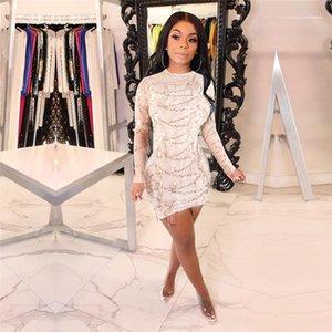Платья Дизайнер одежды Женщины обшитую панелями Sexy кисточкой Блестки женские повседневные платья моды пуловер тюль Perspective Womens Асимметричный