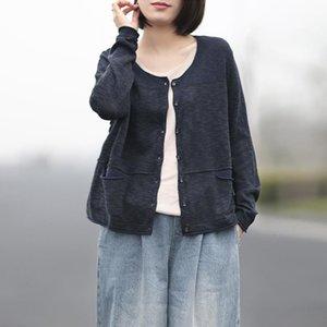 Mulheres New Autumn Cotton linho V-neck Único Breasted malha Cardigan 2020 Vintage manga comprida Pockets Mulheres Sweater