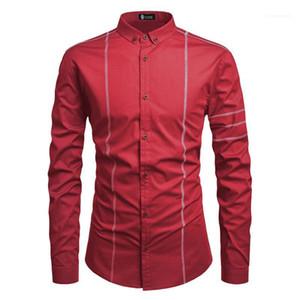 Manga comprida lapela Vestuário Sólidos Casual Único Breasted Homme Tops Primavera Designer Mens Splice shirt Mens