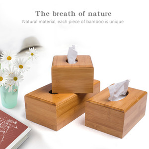 Bamboo Tissue Box Holder Storage Wood Paper Box Dining table Wooden Napkin Holder Tissue Case Canister Organizer Home Decoration