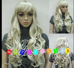 UK Fashion Sexy Ladies Blonde Long Cosplay партии завитые парики