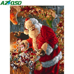 AZQSD DIY Painting By Number Canvas Kits Santa Claus Home Decoration Unframe Coloring By Numbers Cartoon Christmas Gift