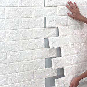 70 * 77 10pcs 3D Tuğla Duvar Sticker DIY Yapışkanlı Dekor Köpük Su geçirmez Kaplama Duvar Kağıdı İçin Çocuk Odası Mutfak Çıkartma