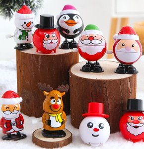 Presentes personagens de plástico de Natal Windup Toy Papai Noel Boneco Clockwork Brinquedos Crianças salto dos desenhos animados presente Modelagem de Natal GGA3756-2