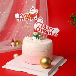 Carta Snowman Train Bolo Topper Decoração de Natal decorações vermelhas do bolo Topper Feliz Natal Papai Noel