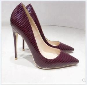 новый стиль для женщин Red Bottom Cusp Fine каблук туфли на высоком каблуке Большой код 45 Мелкий рот высота Single обувь Каблук 10см 12см 8см невесты свадьба