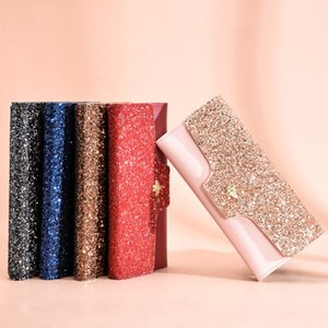 Three fold women hand bag luxury wallet glitter decoration purse portable card holders manufacturer seller fashion packs ch20