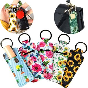 Chapstick Holder Keychains Neoprene Lipstick Holder Keyring Protective Cases with Metal Ring Portable Balm Holders Pouch OOA9112