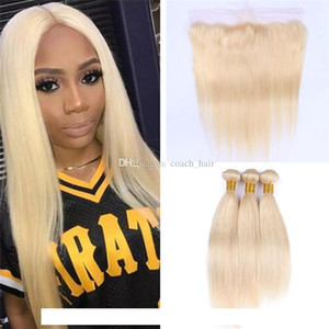 H Brazilian Blonde Straight Hair Bundles With Lace Frontal Closure Colored 613 Platinum Blonde Human Hair Weaves With 13x4 Full Lace Fr