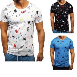 Short Sleeve T-Shirts Tee Shirt Homme Mens Summer T-Shirts Fashion Cartoon Pattern Panelled Natural Color Tees Casual V-Neck