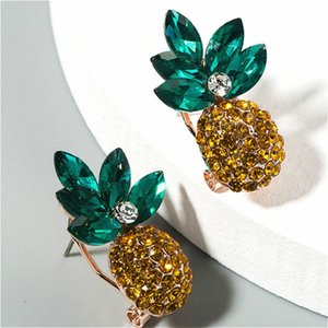 Ananas strass colorés Boucles d'oreilles pour femme Party Casual 2020 New Fashion Sweet Girl Boucles d'oreilles P09s #