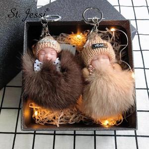 New Cute Fluffy Sleeping Baby Doll Keychain Pompon Real Fur Ball Key Chain Car Keyring Women Key Holder Bag Pendant Charm