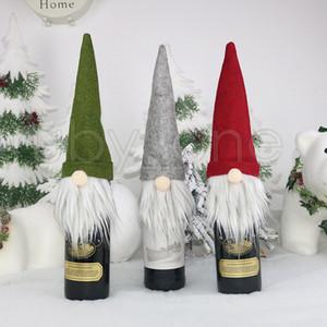 Garrafa Presente de Natal Decoração Saco de Papai Noel Saco do vidro de vinho Set Champagne Natal Decoração Wine Bag Pointed Natal Cap RRA3585