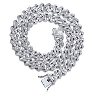 Chains Designer Necklace Hip Hop Mens Jewelry Cuban Link Gold Luxury Diamond Bling Rapper Chain Micro Paved CZ Charms 14MM Charms